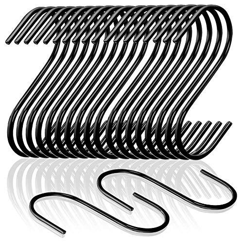FYSL 20 Stück S-förmige Haken Metall Haken S-Haken Edelstahl Schwarz für Küche, Bad, Schlafzimmer und Büro