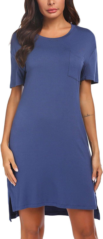 Ekouaer Plus Size Nightgowns Women Summer Short Sleeve Sleepwear Plain Dress