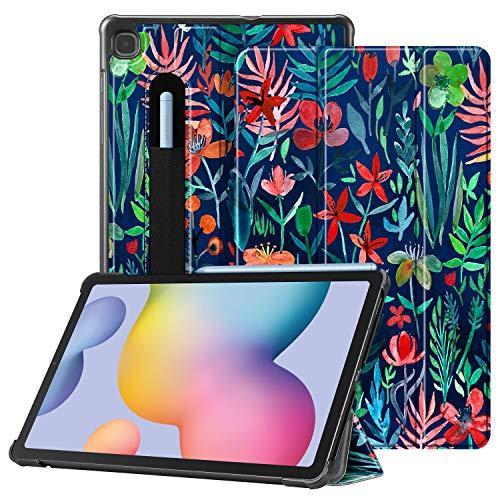 Fintie Hülle für Samsung Galaxy Tab S6 Lite - Ultra Schlank Kunstleder Schutzhülle mit Stifthalter, Auto Schlaf/Wach Funktion für Samsung Tab S6 Lite 10.4 SM-P610/ P615 2020, Dschungelnacht
