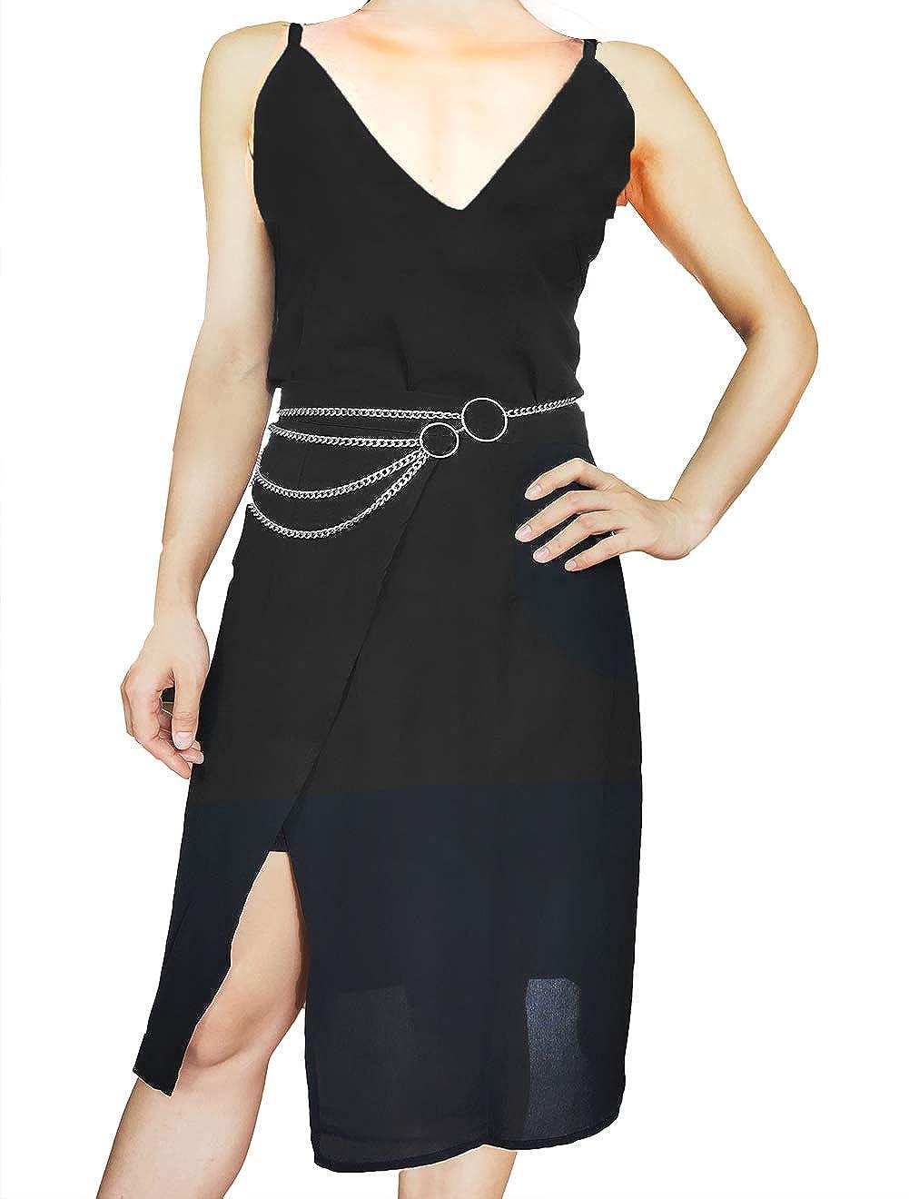 Eyraevor Women Long Tassel Waist Chain Belt Multilayer Body Belly Chain for Dress