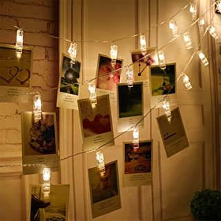 WRISTCHIE 5 ft 10 LED String Lights Clips Photo Battery Powered for Wedding Party Home Decor Lights for Hanging Photos, Cards and Artwork (5ft, 10 Light Clips)