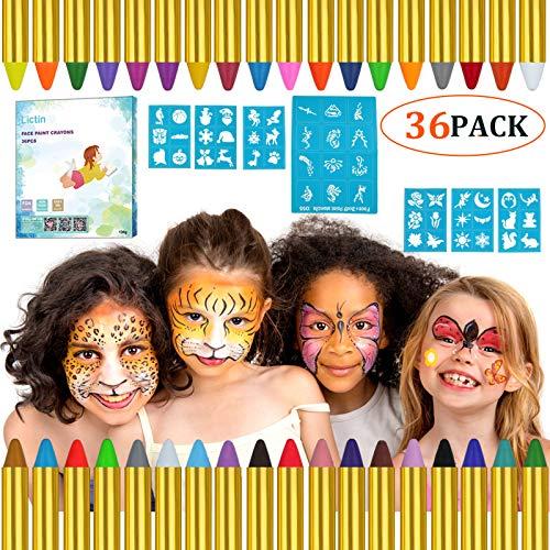 Lictin Pintura de Cara para Nios- 36 Colores Pintura Facial y 48 pcs Pegatinas, Kit Pintura Facial Seguro para Navidad Halloween Fiesta y Party, 12 Colores fluorescentes y 6 Colores Metlicos