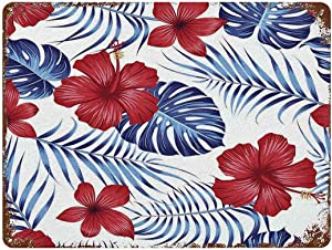 Vintage Metal Sign Decor Man Cave Bar Decor,Red Hibiscus Flowers Tropical Plant Leaves Metal Sign Wall Decor,Woman Cave,15.7x11.8in