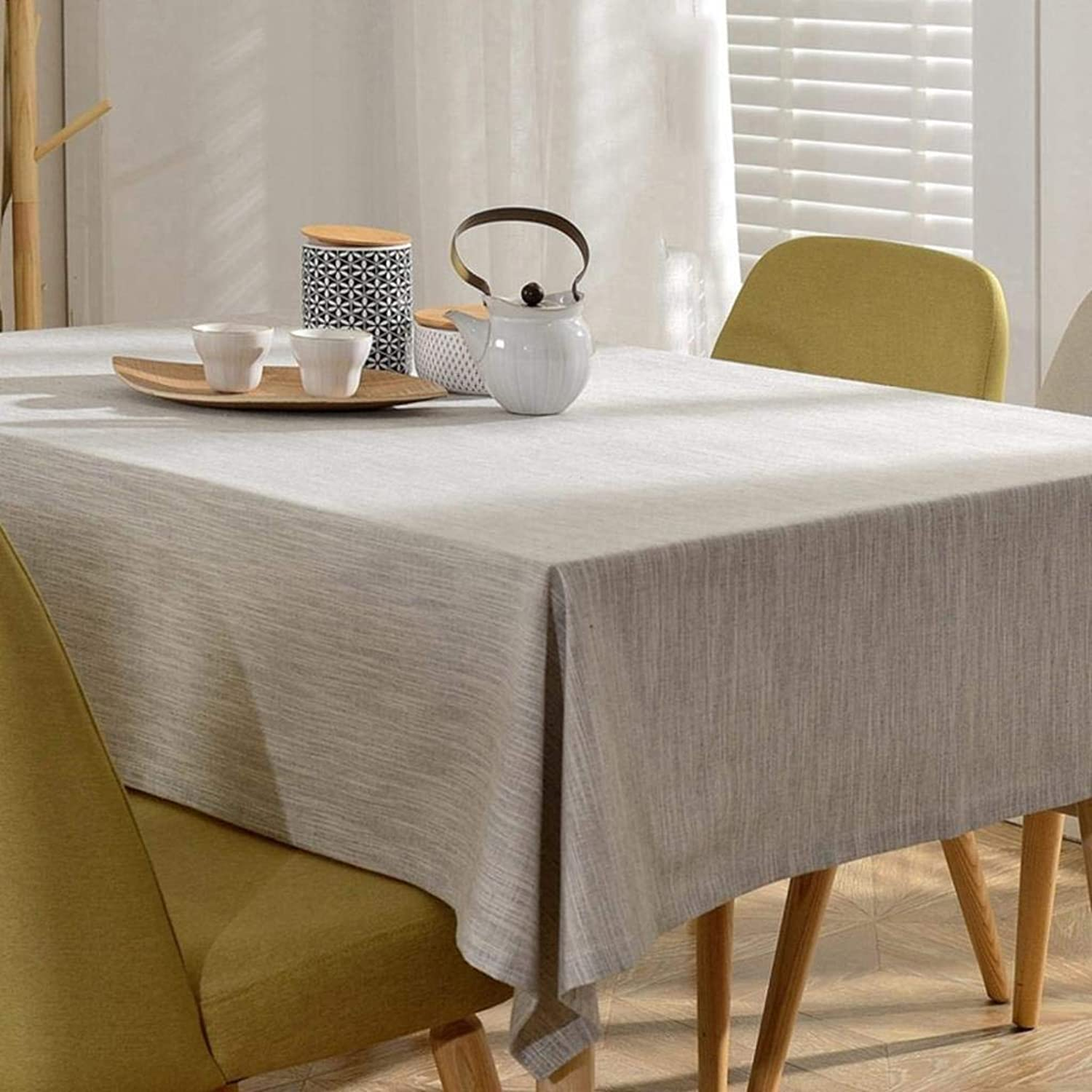 WENYAO imperméable Flax Tablecloth,RectangTabcloth Desk Solid oblonge tabcloth D 100x160cm(39x63inch)