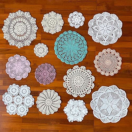 kilofly 14 pcs Cotton Crochet Doilies 4-11.5' Handmade White Beige Placemats...