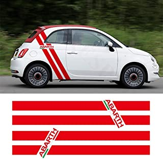 Italy Flag Color Stripes Vinyl Decal Car Body Sticker For Fiat 500 595 Abarth Side Vertical Rear Quarter Stripes (RED)