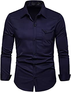 Mens Casual Regular Fit Long Sleeve Formal Solid Button Down Dress Shirt