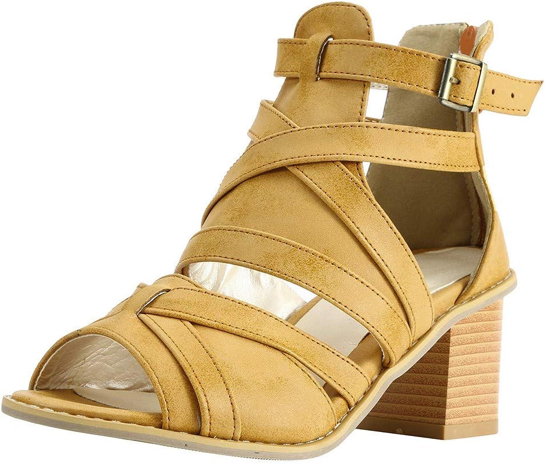 Women Open Toe Vintage Buckle Strap Heel Peep Toe Chunky Heel Sandals shoes
