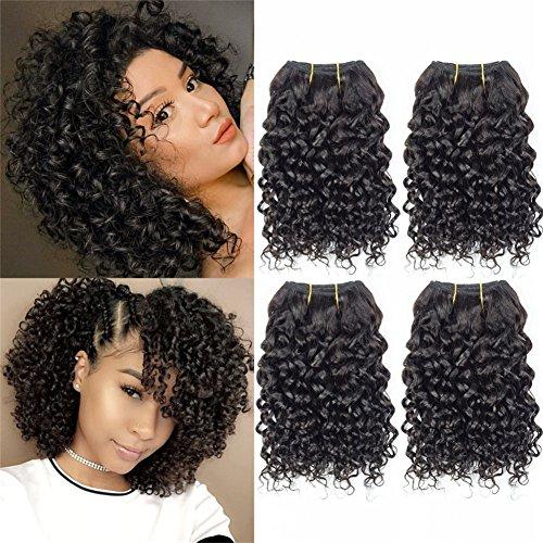 Curly Hair 8 Inches 4 Bundles Short Human Hair Kinky Curly Wave Brazilian Virgin huamn Hair 50 Gram/Bundle (8'8'8'8', natural Color)