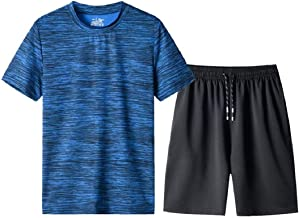 Men's Summer Athletic Sports Suit Set Breathable Tracksuit Short Sleeve T-Shirts and Shorts Summer Activewear by Lowprofile