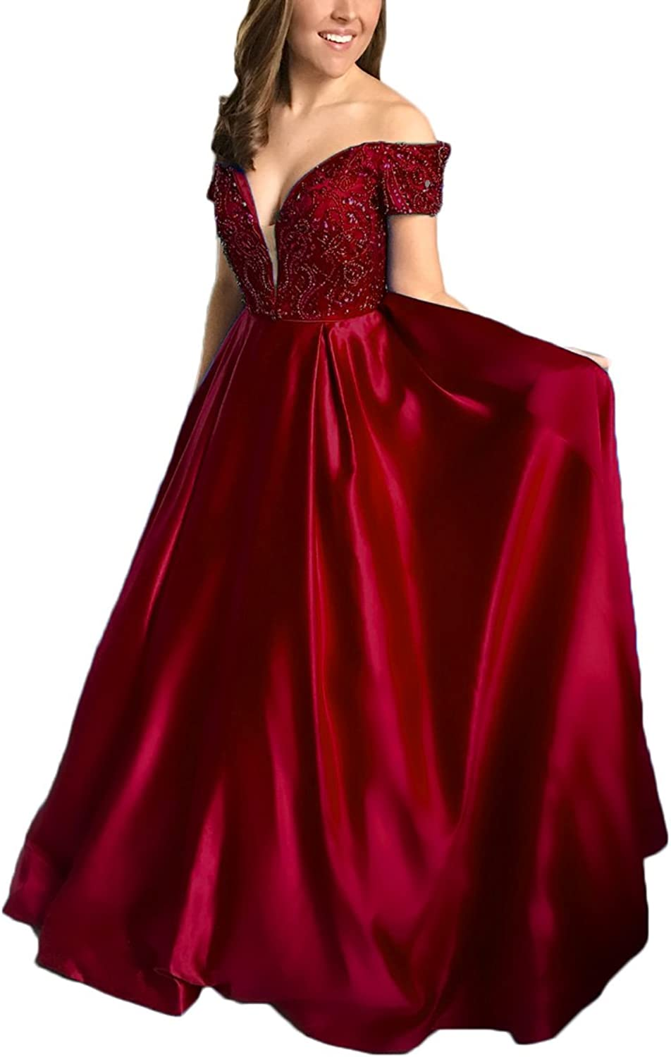 Alilith.Z Sexy Off The Shoulder Prom Dresses A Line Crystal Sequins Beaded Long Formal Evening Party Dresses for Women