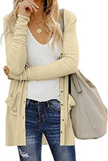 WOCACHI Womens Cardigan Coat, Lightweight Long Sleeve Solid Snap Button Down Draped Open Front Cardigans with Pockets