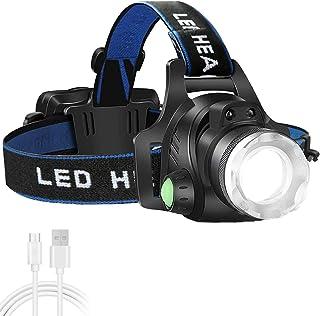 T6 Headlamp Flashlight Black AUSELECT LED High Lumen Ultra Bright Rechargeable Headlight