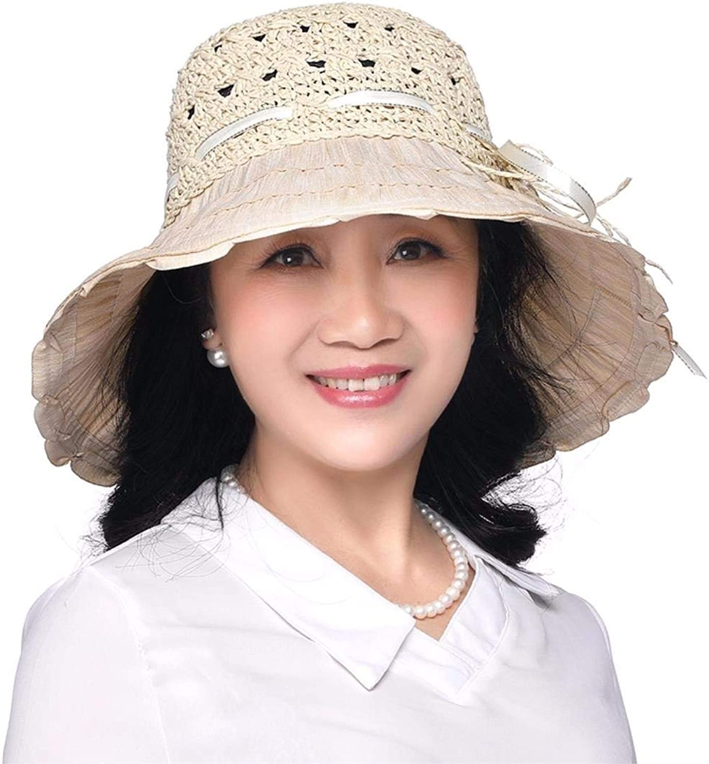 Dianye Gift for Mom Gift for grandmother Summer hat, summer resort, straw hat sunscreen hat Beach Hat middle age hat Hat