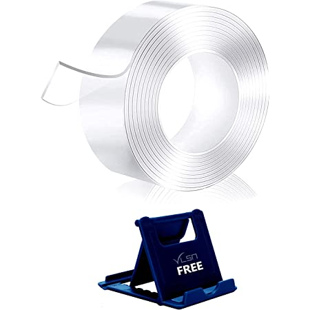 VLSA (Free 1 Mobile Stand) Double Sided Tape for Wall 3mm Thickness Transparent Strong Adhesive Trace Less Tape Removable Washable and Reusable Anti Slip Tape for Home Supplies   3 Meter (Tape)