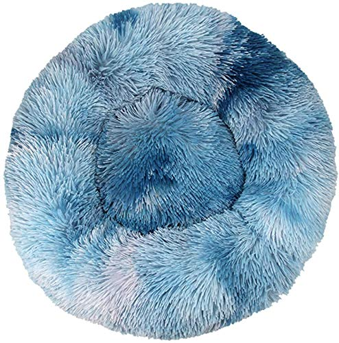 Cama de lujo para mascotas redonda cálida para mascotas estructura semicerrada, felpa, parte inferior antideslizante, nido de mascotas para gatos y perros, cama (color: azul real, tamaño: 90 cm)