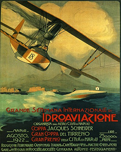 "16"" X 20"" Seaplane Idroaviazione Speed Boat Race 1922 Pilot Napoli Naples Italy Vintage Poster Repro Standard Image Size for Framing. We Have Other Sizes Available!"