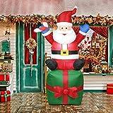 Seawang Babbo Natale Gigante Gonfiabile 1.8M Decorazione Natalizia da Esterno Stabile, Sicuro Modello Gonfiabile di Natale