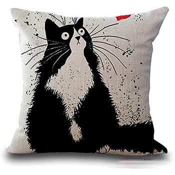 Axgo Funda de Almohada con diseño de Dibujos Animados de Gato, Lino y algodón, Cuadrada, Fundas de cojín estándar, para sofá, Cama de 45 x 45 cm, StyleB