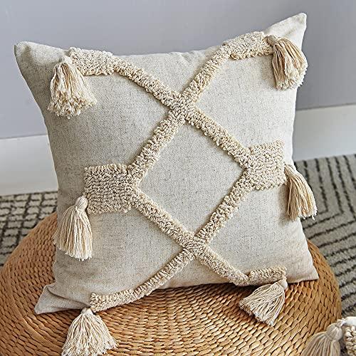 Funda de cojín de 45 x 45 cm, estilo boho, marroquí, étnico o vintage de algodón, con pompones para decoración del hogar, salón, dormitorio, suave, a la moda, para sofá, silla o cama