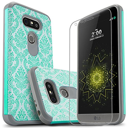 STARSHOP LG G5 Case, [Shock Absorption] Dual Layers Impact Advanced Protective Phone Cover with [Premium HD Screen Protector Included] for LG G5 [Light Blue Lace]