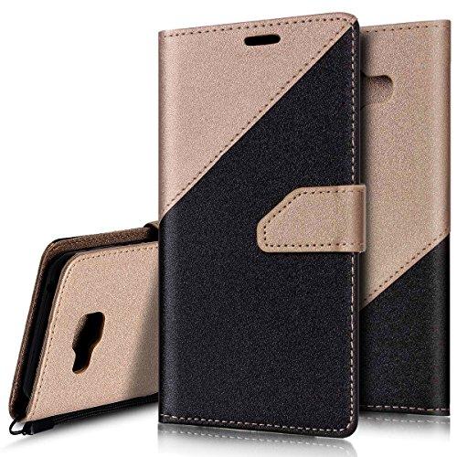 Custodia Samsung Galaxy A3 (2016) A310,Ukayfe Stitching Colore Flip Case Cover per Samsung Galaxy A3 (2016) A310 Custodia Cover PU Leather Case con Silicone TPU Interno-Nero + Oro