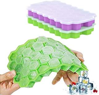 Ice Cube Trays Silicone DaCool Ice Mold with Lids 2 Packs 74 Cubes Totally Easy-Release Flexible Spill-Resistant Stackable Durable BPA Free Stackable Durable and Dishwasher Safe - Green & Purple