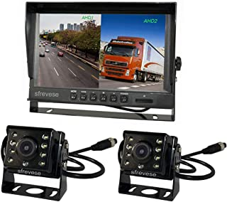 9' 4Pin IPS HD SD DVR Recording 2CH Split Car Rear View Monitor + 2x AHD 1080P Reversing Backup Camera For Bus Long Truck Vehicle Waterproof 12V-24V