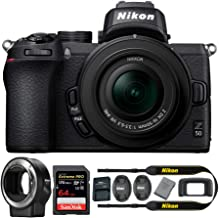 Nikon Z 50 DX-Format Mirrorless Camera with NIKKOR Z 16-50mm Lens, Nikon Mount Adapter, 64GB Card and Accessory Bundle (3 Items)
