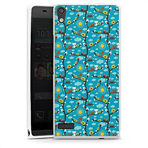 DeinDesign Cover kompatibel mit Huawei Ascend P6 Hülle Silikon Hülle Schutz Wolken Sonnenblumen Eichhörnchen