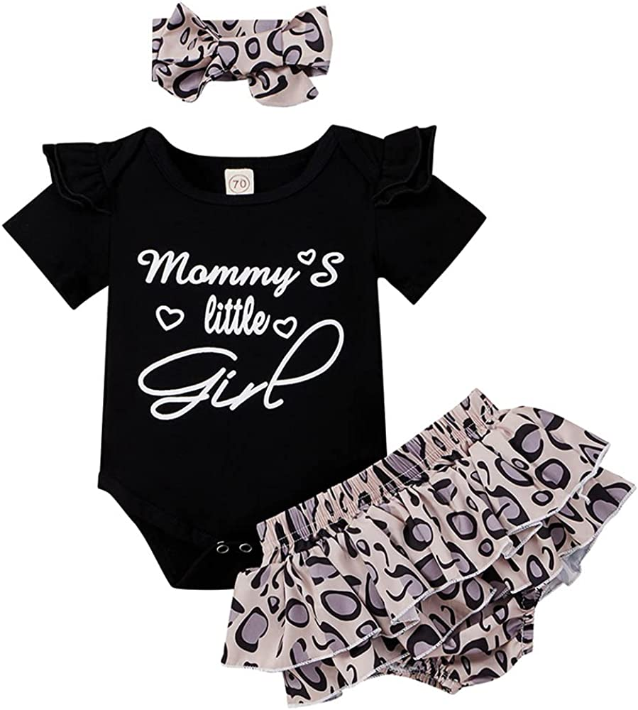 LAPA Infant Baby Girls Floral Print Ruffle Romper with Headband Jumpsuit Set