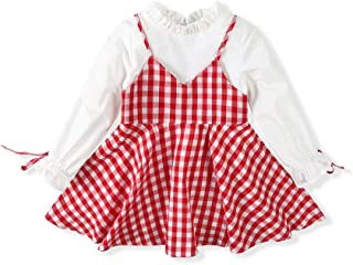 Girls' Long Sleeves Fake Two-Piece Dress Outfit Casual Party Plaid Cotton Dress