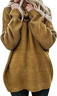 Juner Women Fashion Winter Casual Solid Long Sleeve High Collar Lazy Loose Sweater Sweatshirt