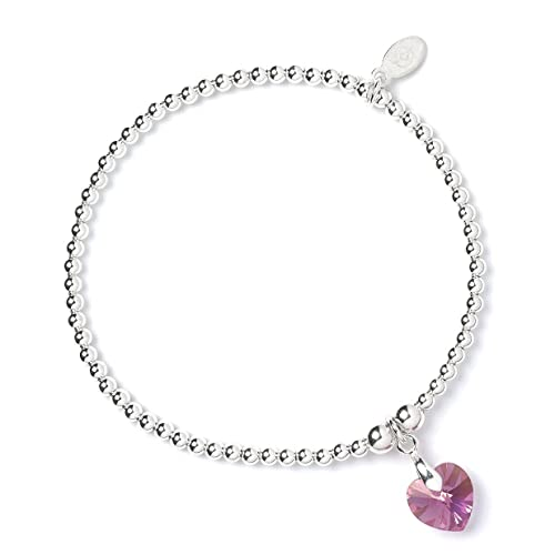 eeb4454df Sterling Silver 'Rice & Noodle' Ball Bead Bracelet with Swarovski Crystal  Elements Pink Rose