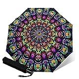 Paraguas plegable plegable de tres pliegues, diseño de mandala psicodélico, ligero, para sol y lluvia