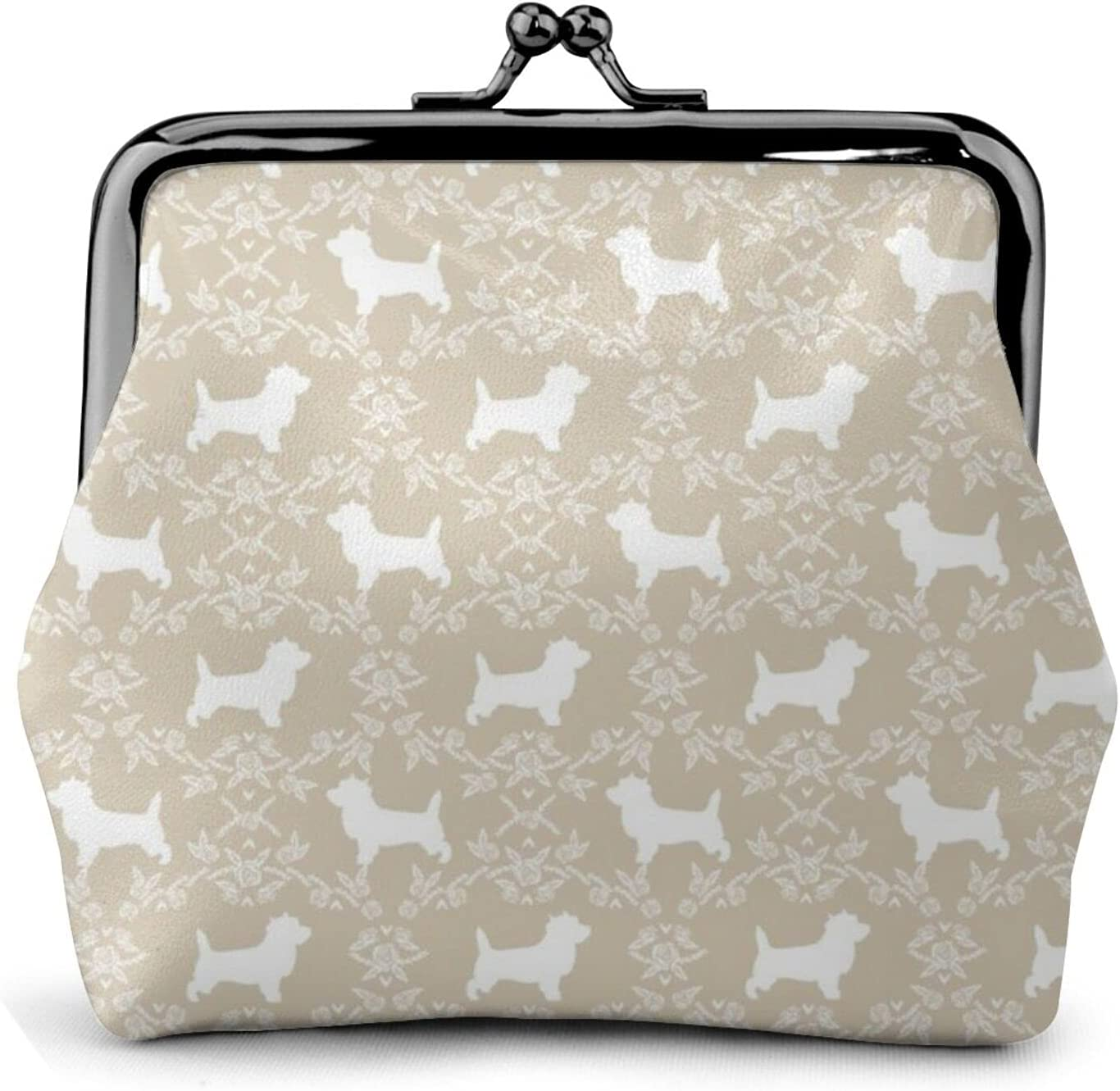 Cairn Terrier Florals 1367 Coin Purse Retro Money Pouch with Kiss-lock Buckle Small Wallet for Women and Girls