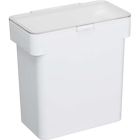 山崎実業(Yamazaki) 密閉 袋ごと 米びつ 5kg 計量カップ 付 ホワイト 約W28XD16.5XH28.5cm タワー スリム シンク下 持ち手付き 3375