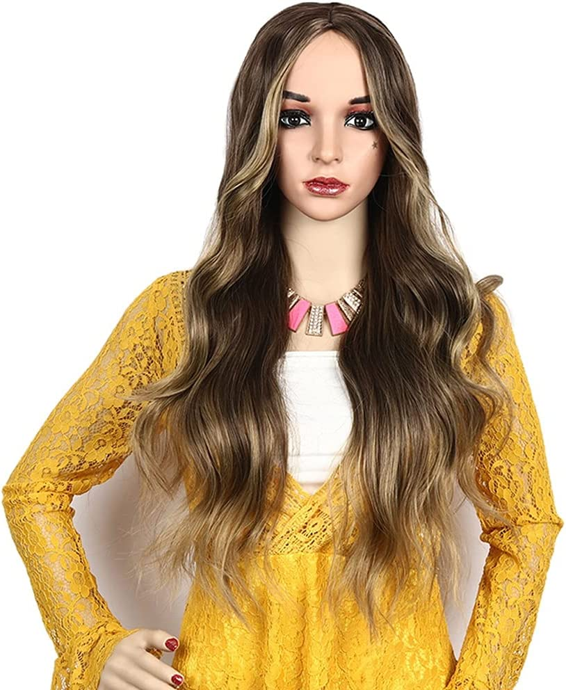 Long Wavy Bargain sale Wig for Women Girl Brown Middle Curly 2021 Ha Part