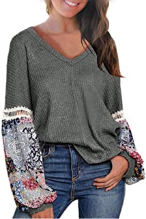 S-Fly Women's Long Sleeve V Neck Stitching Autumn Print Waffle Tops T-shirt Blouse