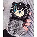 KC Cartoon Meow Cat Fur Hair with Lucky Cat Glasses Soft Bumper Silicone Back Cover for Vivo Y12 & Vivo Y15 (Black)