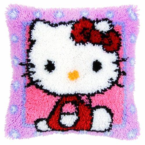 Vervaco Knüpfkissenpackung Hello Kitty Knüpfpackung zum Selbstknüpfen eines Teppichs, Stramin, weiß, 40 x 40 x 0,3 cm