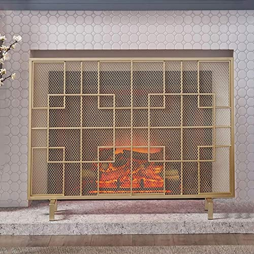 Best Deals! Large Flat Ornate Fireplace Screen, Single Panel Wrought Iron Metal Decor Mesh, Baby Saf...