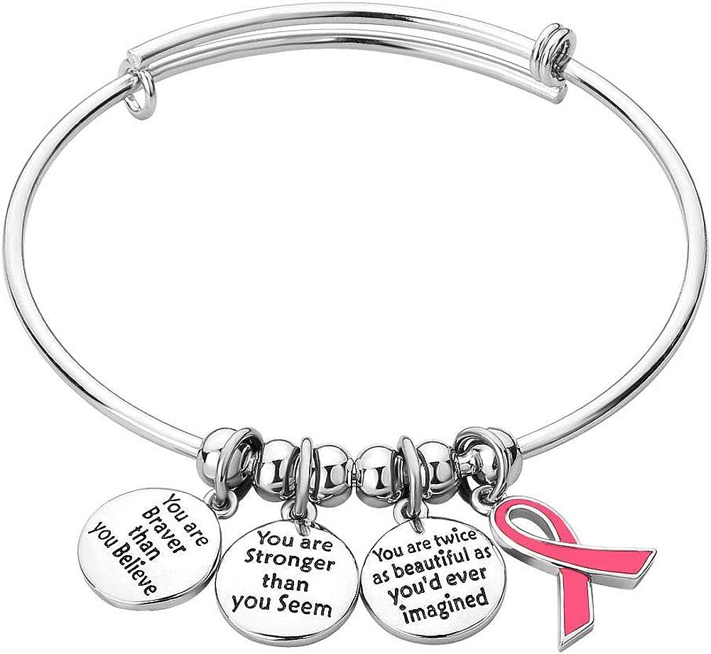 Casa De Novia Jewelry Ribbon Breast Cancer Awareness Believe Braver Stronger Beautiful Adjustable Bangle Charm Bracelet Women Gifts
