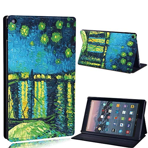 FINDING CASE For Amazon re HD 10 (5th 7th 9th Gen) Tablet - Printed PU Flip Leather Smart Lightweight Shell Stand Cover Case for re HD 10 (5th 7th 9th Gen) (Fire HD 10 (5th 7th 9th Gen), lake paint)