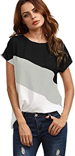Aniywn Women`s Casual Triple Color Block Stripe T-Shirt Tunics Blouse Casual Loose Round Neck Short Sleeve