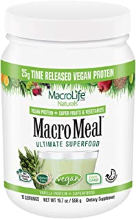 MacroLife Naturals MacroMeal Vegan Superfood Powder Time-Released Protein Blend, Greens, Digestive Enzymes, Fiber, MCTs - ...