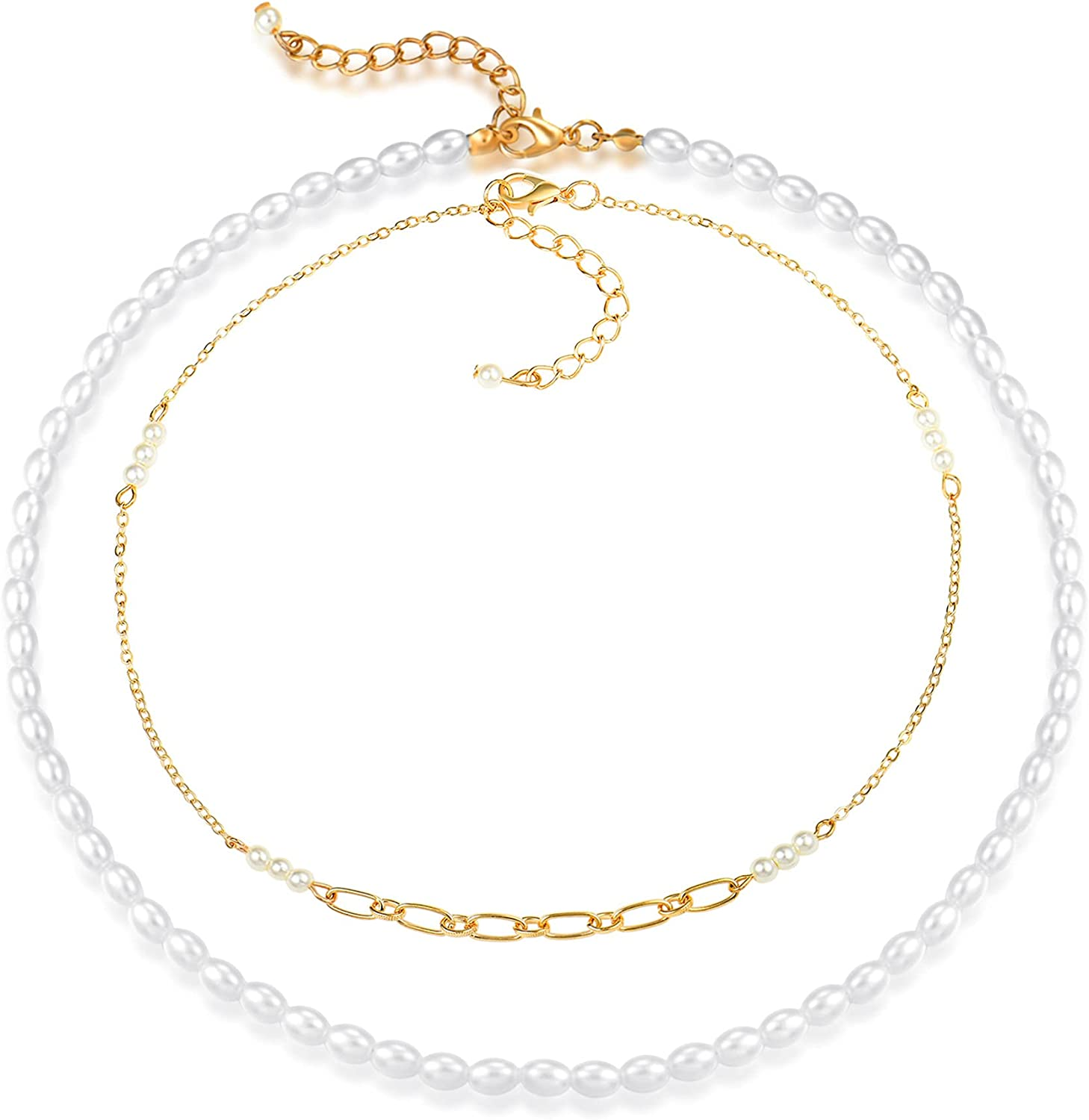 CUSUA 2 Pcs Pearl Choker Necklaces Gold Now on sale 14K for Women Ranking TOP3 3 Plated