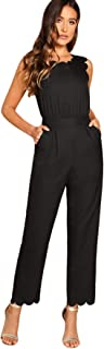Women's Sleeveless Scallop Edge Solid Mid Waist Long Pants Jumpsuit