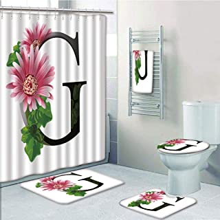 Bathroom 5 Piece Set shower curtain 3d print Multi Style,Letter G,Alphabet Letter with Blossoming Gerbera Flower and G Spring Inspired Font Decorative,Pink Green Black,Bath Mat,Bathroom Carpet Rug,Non
