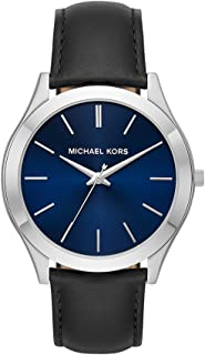 Michael Kors Men's Slim Runway Stainless Steel Quartz Leather Strap, Black, 22 Casual Watch (Model: MK8620)
